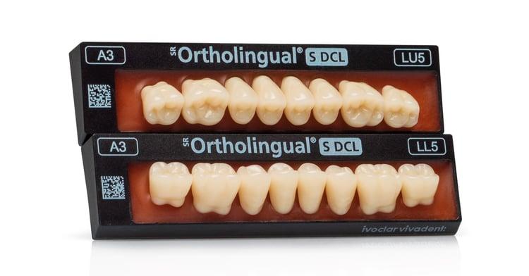 Dentadura completa - nuevos dientes posteriores SR Ortholingual S DCL para el esquema de oclusión lingualizada