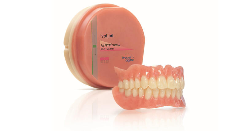 The new innovative bicolor disc Ivotion is the key to amazing efficiency in digital denture production. It allows customized complete dentures to be milled in one operation.